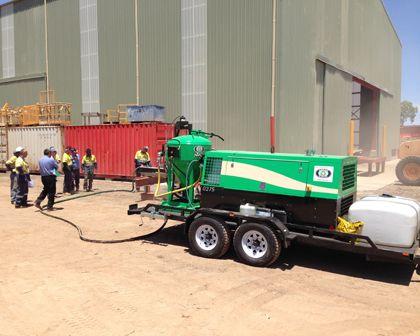 Dustless Blasting Services Perth WA 2 - Machine getting ready for Dustless Blasting project Perth, WA