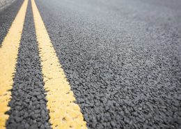 Line Marking Removal - Dustless Blasting removes yellow lines from Asphalt road